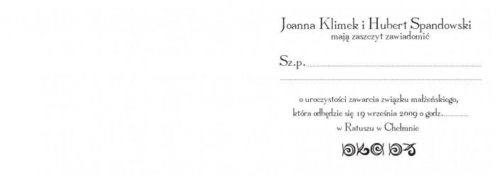 Ślub Julki i Mando – zawiadomienie – 02