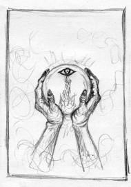 Czarnoksiężnik i kryształ – szkic