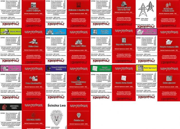 Kingopoly przykładowe karty ulic